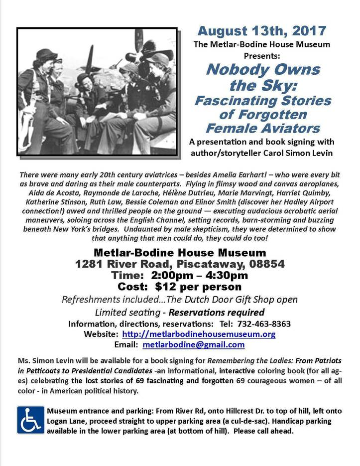 Piscataway's Metlar-Bodine House Museum Presents Nobody Owns the Sky: Fascinating Stories of Forgotten Female Aviators