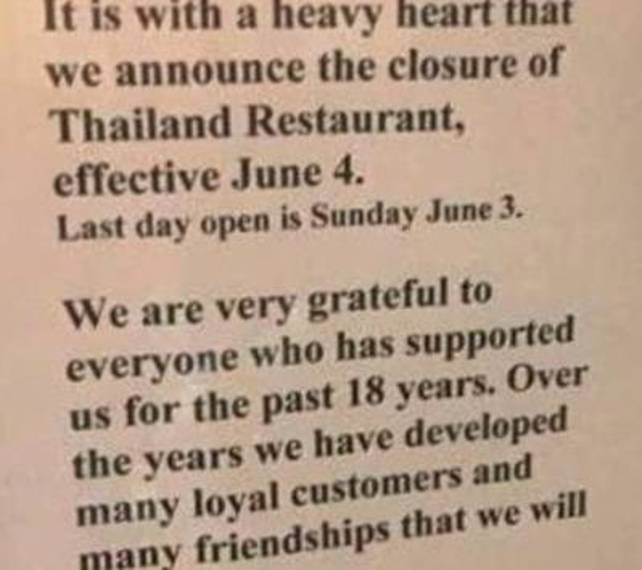 Thailand Restaurant in Clark to Close After June 3 | TAPinto