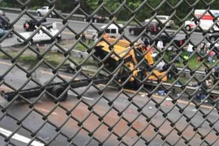 Threatening injuries after school bus collides with dump truck in New Jersey