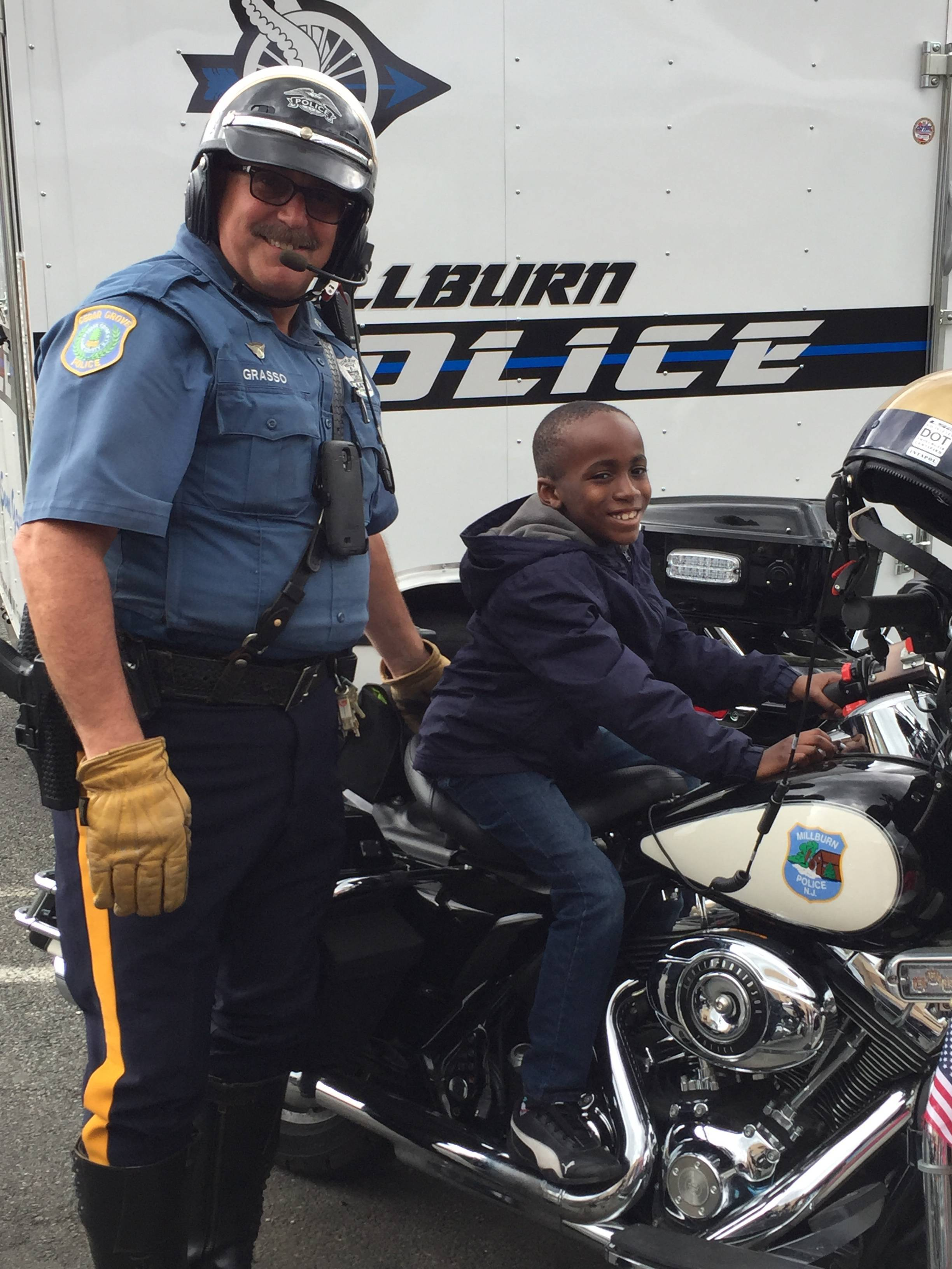 cedar grove police officers particpate in munity safety day