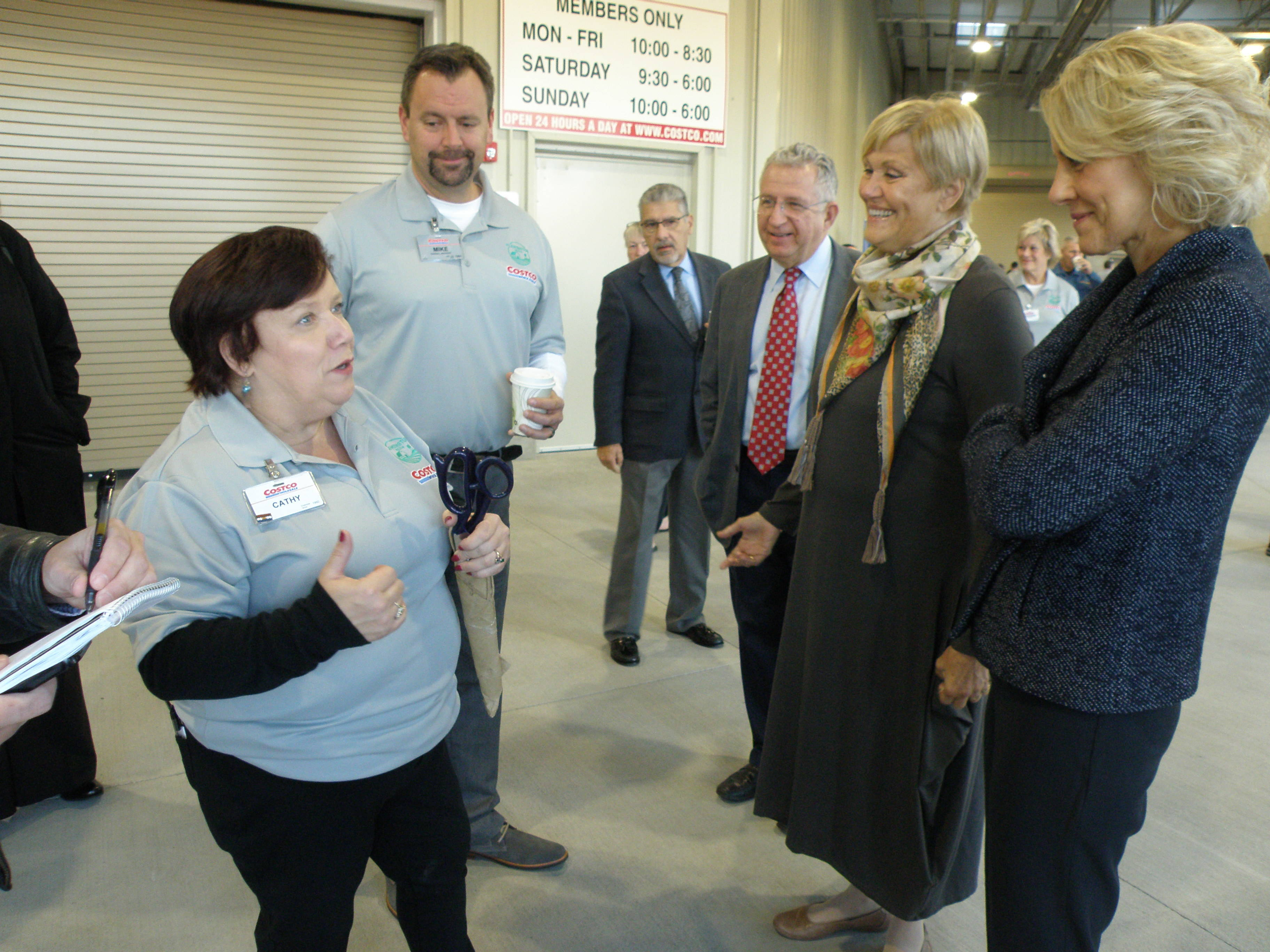 flemington s costco throws open its doors flemington raritan nj from left are costco s cathy wanklin and mike liszewski chatting mike mangin jim robinson suzanne lagay and karen gilbert credits curtis leeds