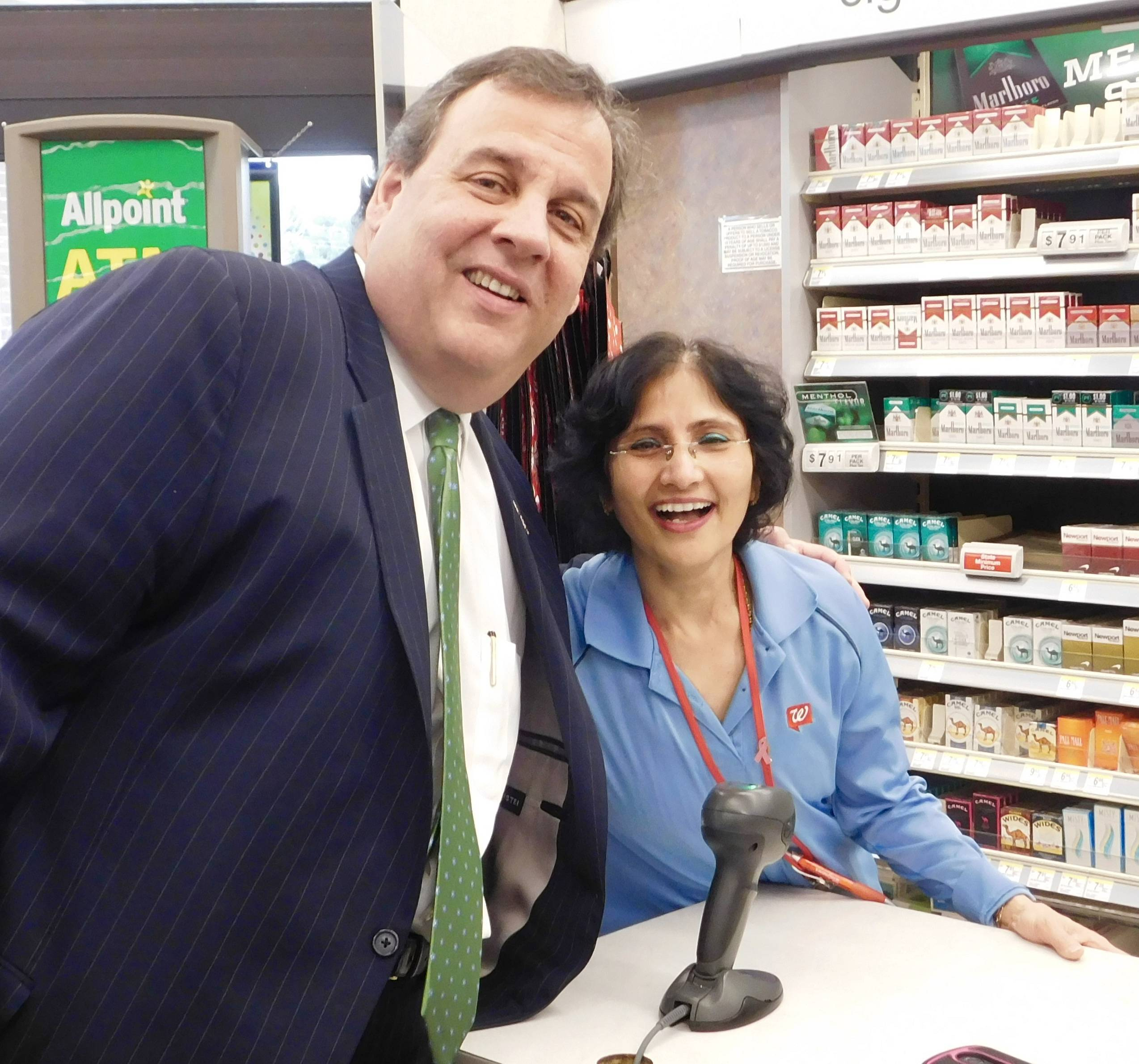 christie s walgreens to support anti opiate program sort of a selfie governor chris christie and walgreens employee bela patel credits tap into east brunswick