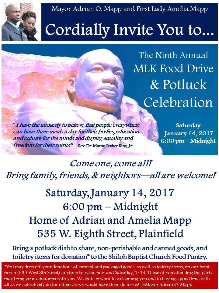 Plainfield Mayor Mapp's Ninth Annual MLK Food Drive to Take Place Jan 14