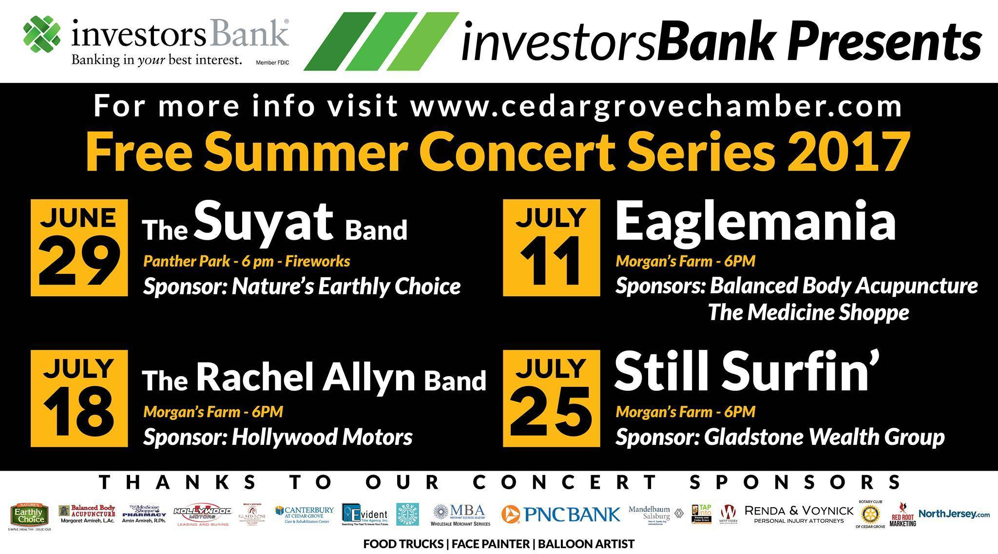 Cedar Grove Chamber Of Commerce Free Summer Concert Series Eaglemania Tapinto