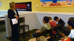 Township Manager, Michele Meade, discusses about the emergency preparedness with children at the LRC clubhouse citing the experiences of recent storms in Livingston.