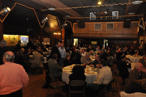Guests at the campaign event for Mike Strada, fill The Barn.