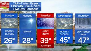 Snow Likely Tuesday; West Essex Area Weather for Sunday, Feb. 15, photo 1