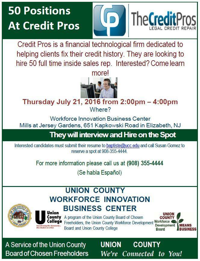 Eighty Job Opportunities for Union County Residents Elizabeth NJ