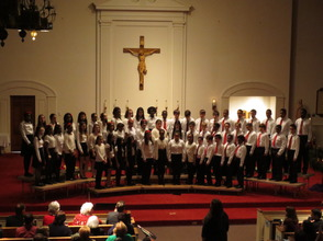 The 6th- Through 8th-Grade Choir Performs at the Aquinas Academy Christmas Concert