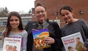 Author Patricia Polacco and Collins School Students