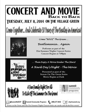 Concert and Movie - Tuesday, July 8th - Summit's Village Green - 7 PM