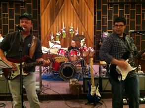 Members of the YouChoose Band rehearsing for Beatles Night