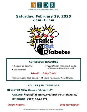 Strike Out Diabetes Night 2020 flyer