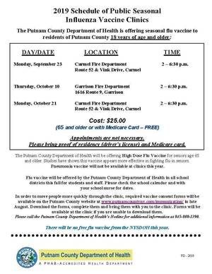 Public Flu Clinics for Fall 2019 ENG