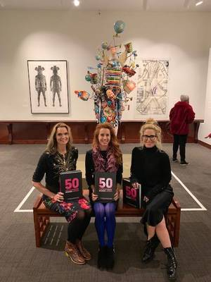 Editor Heather Zises with 50 Contemporary Women Artists Vadis Turner and Stephanie Hirsch at Montclair Art Museum