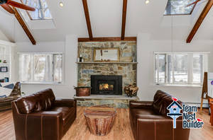 Family Room with wood burning stove