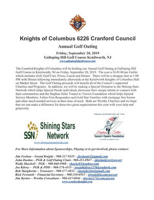 2019 Cranford Knights of Columbus Golf Outing Flyer