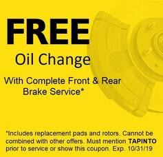 FREE OIL CHANGE WITH COMPLETE BRAKE JOB!
