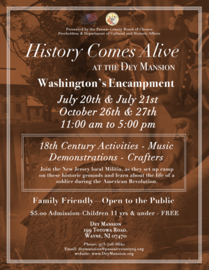 Flyer, Washington's Encampment, Dey Mansion, 2019.png