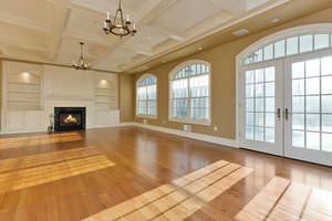 Great Room with Fireplace, coffered ceiling, wall of windows, French door to Veranda