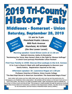 2019 Tri-County History Fair Flyer