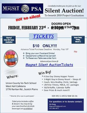 Magnet Fundraising Auction Feb 23rd, 6:30 pm