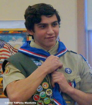 Carousel image bf182f1956cf4f9a68aa a newly kerchiefed eagle scout michael manetta tightens his scarf  2018 tapinto montville