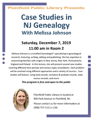 Case Studies in NJ Genealogy with Melissa Johnson