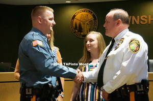 Carousel image c89595f27576e5c5f82d a new patrolman bradley meece shakes the hand of police chief rudy appelmann  2018 tapinto montville   1.