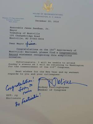 Congratulatory Letter from Congressman Frelinghuysen