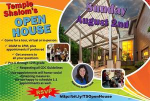 Temple Shalom Open House August 2nd