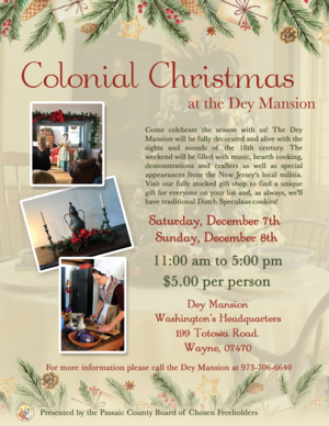 Flyer, Colonial Christmas, Dey Mansion, December 2019.png