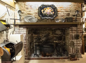 Restored fireplace kitchen