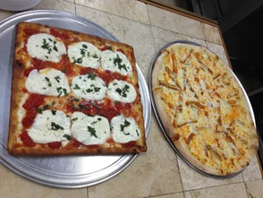 Margarita pie (left) and Buffalo Chicken pie (right)