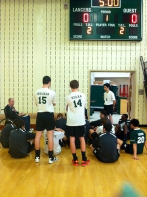 Boys Varsity Volleyball -- Coaches Meeting After the Wins