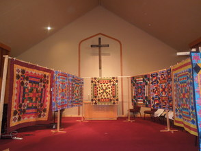Displays throughout the church building.