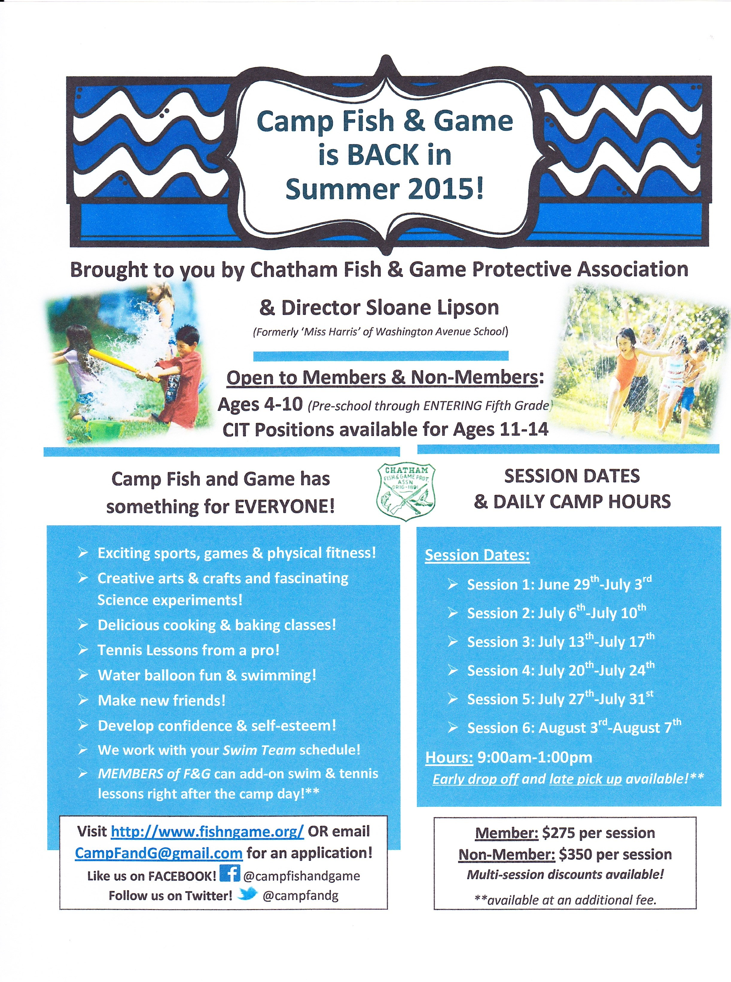 Camp fish and game registration now open chatham nj news for Nj fish and game