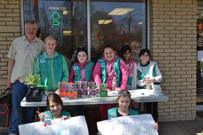 Pete Eddy with the Girl Scouts