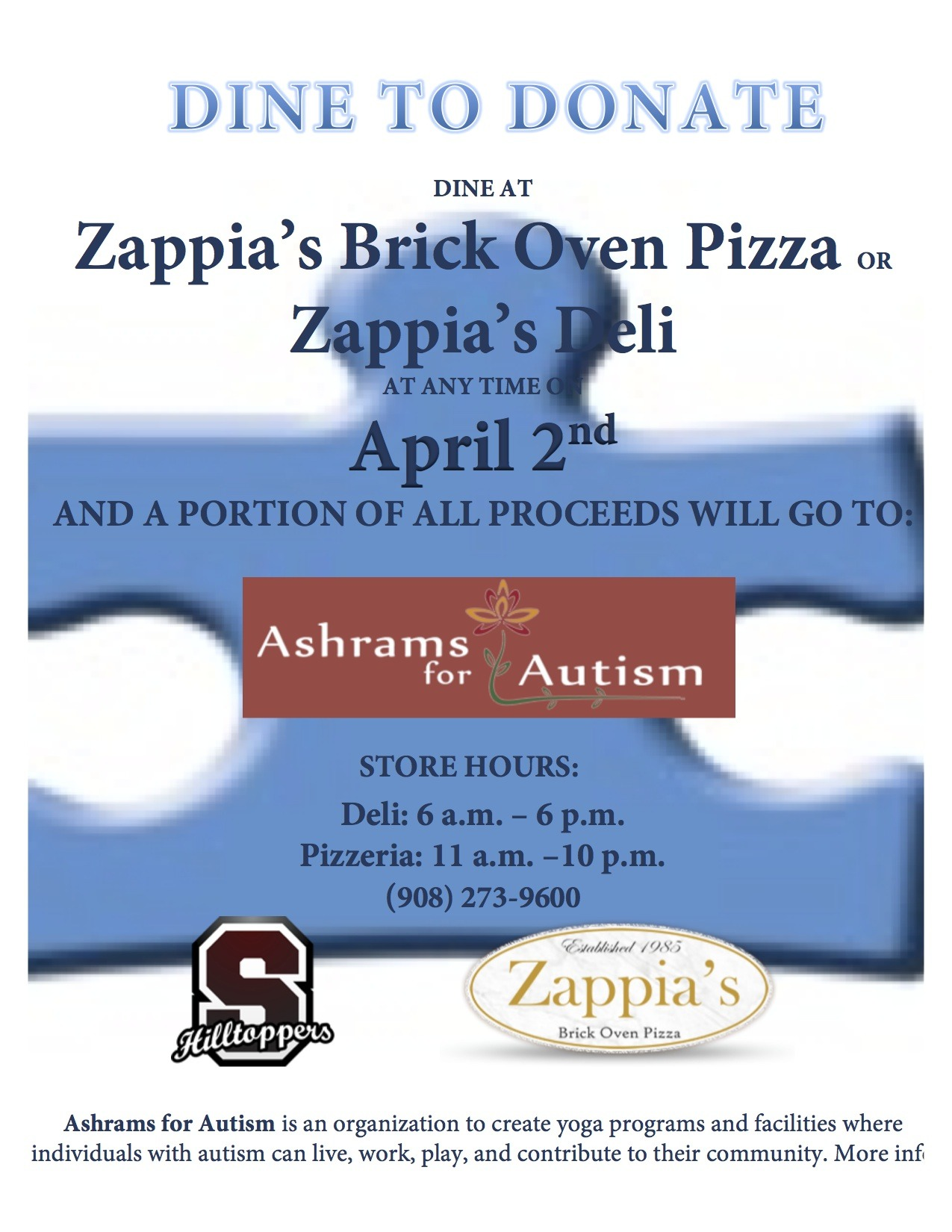 Zappias hosts dine to donate benefiting ashrams for autism summit nj the month of april is designated as autism awareness month and the applied behavior analysis aba program at lawton c johnson summit middle 1betcityfo Gallery