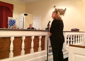 Resident Lisa Braddock addresses the council.
