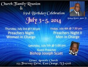 Grace Apostolic Church Family Reunion & Bishop Amos 83rd Birthday Celebration, photo 1