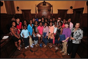 Members of the State Champion Columbia H. S. Girls Winter and Spring Track Teams and Boys Fencing Team and Sabre Squad received commendations from the Board during its June 12th meeting at the Hall of Records.