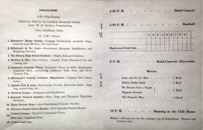July 4th 1915 Event Schedule