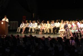 SPF Schools Superintendent Dr. Margaret Hayes congratulates rising freshman class