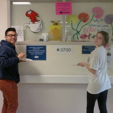 Two LHS National Art Honor Society Students Brighten Up a Neonatal Wing Window at St. Barnabas