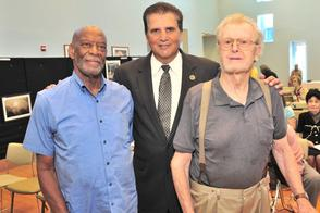 Essex County Executive Joseph N. DiVincenzo, Jr. (center) announced that Montclair residents Edward Long (left) and Horst Hoyer (right)