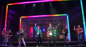 The Other Josh Cohen at Paper Mill Playhouse; From left to right: Steve Rosen, Cathryn Salamone, Vadim Feichtner, Kate Wetherhead, Ken Triwush, Hannah Elless, and David Rossmer.
