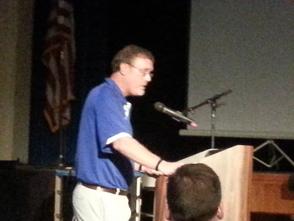 Westfield High School Principal, Peter Renwick, speaks in favor of an SRO.