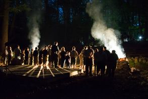 Flag retirement ceremony at Cub Scout Camporee