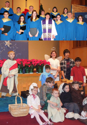 Willow Grove Church Choir sings and children enjoy dressing up to tell the story of Jesus' birth.